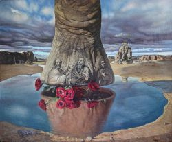The leg of the elephant that is reflected in gavel roses.