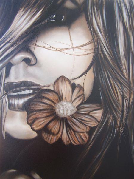Eccezionale volto di donna con fiore - Opera d'arte di Anam WX61