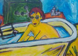 Vasca Da Bagno Quadro : Quadro su tela cane fare un bagno in una vasca da bagno colorato