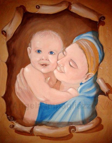 Estremamente Mamma con Bambino - Opera d'arte di Angela Impagliazzo PD93