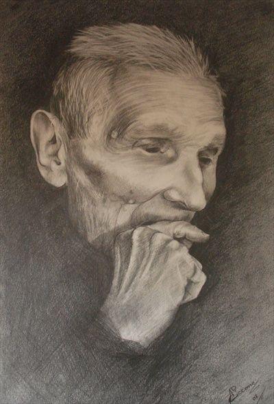 Disegni Di Persone Anziane.Serie Volti Di Anziani 1 Opera D Arte Di Anila D Ciccone