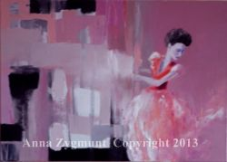 """A Woman in Red"" year 2012, oil canvas"
