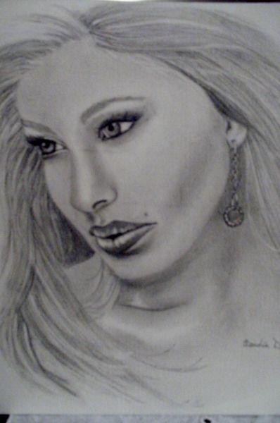 Favorito viso di donna in penombra - Opera d'arte di Claudia Dottorini WZ43