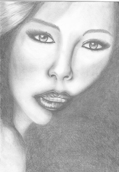 Popolare viso di donna in penombra - Opera d'arte di Claudia Dottorini WN64