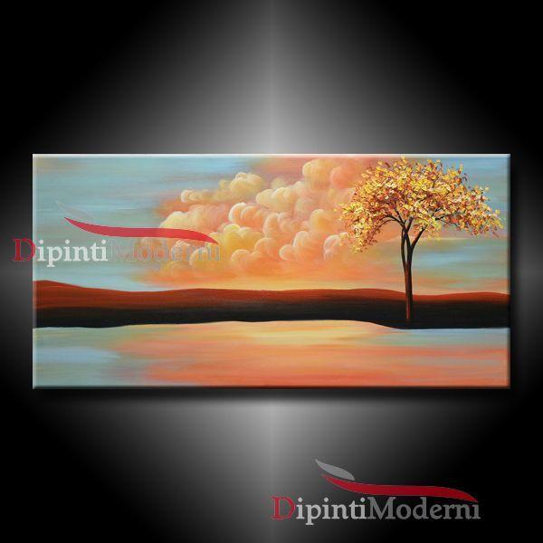 Quadro d 39 arte dipinto con paesaggio rilassante opera d for Dipinti moderni bianco e nero
