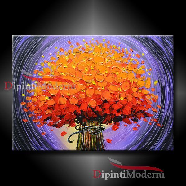 Amato Quadro moderno con bouquet di fiori arancioni - Opera d'arte di  EW26
