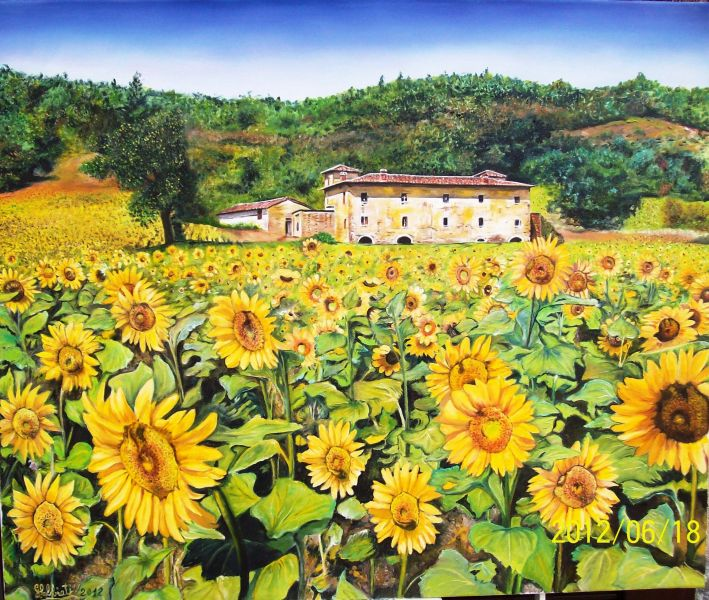 Girasoli con fattoria - Opera d\'arte di Gianluigi Abbiati