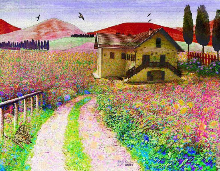 Dipinti paesaggi primaverili yi68 regardsdefemmes for Disegni colorati paesaggi