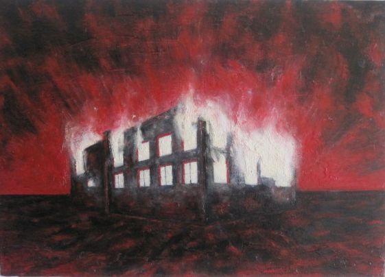 Casa in fiamme opera d arte di leonardo vannimartini