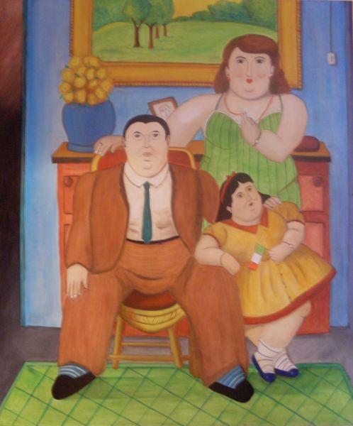 Famiglia Colombiana copia da Botero - Opera d\'arte di Luigi Romanelli