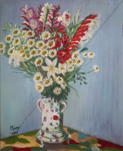 Vaso di margherite e gladioli
