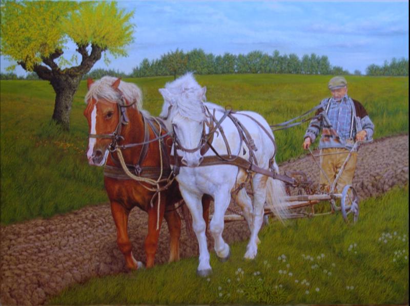 Aratura antica con cavalli - Opera d\'arte di Maurizio Viero