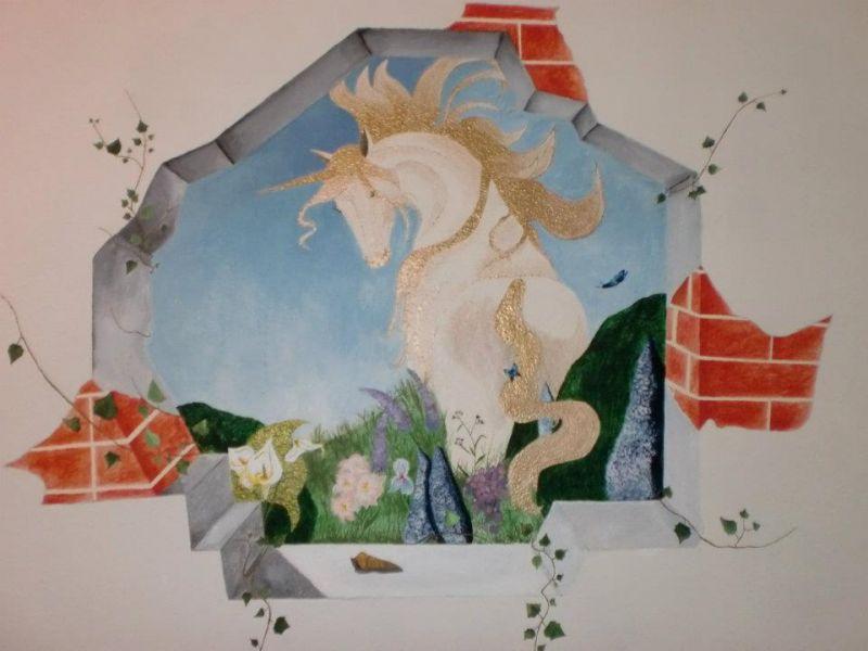 Bien-aimé Unicorno su muro (esempio) - Opera d'arte di Myst GX34