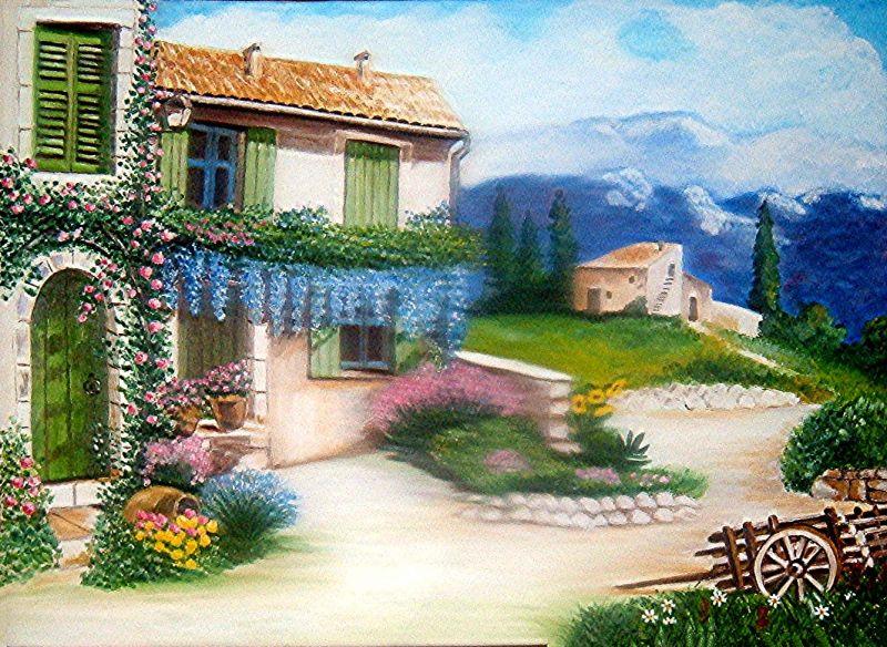 Paesaggio di campagna opera d 39 arte di nunzia for Disegni colorati paesaggi