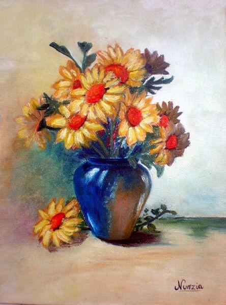 Vaso di margherite opera d 39 arte di nunzia for Immagini di fiori dipinti