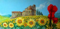 Paesaggio con girasoli e papaveri - Opera d\'arte di Pidimoro