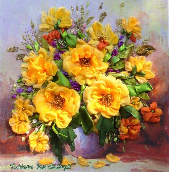 Mazzo di fiori solare - Opera d\'arte di Ricamo Con Nastro Di Seta