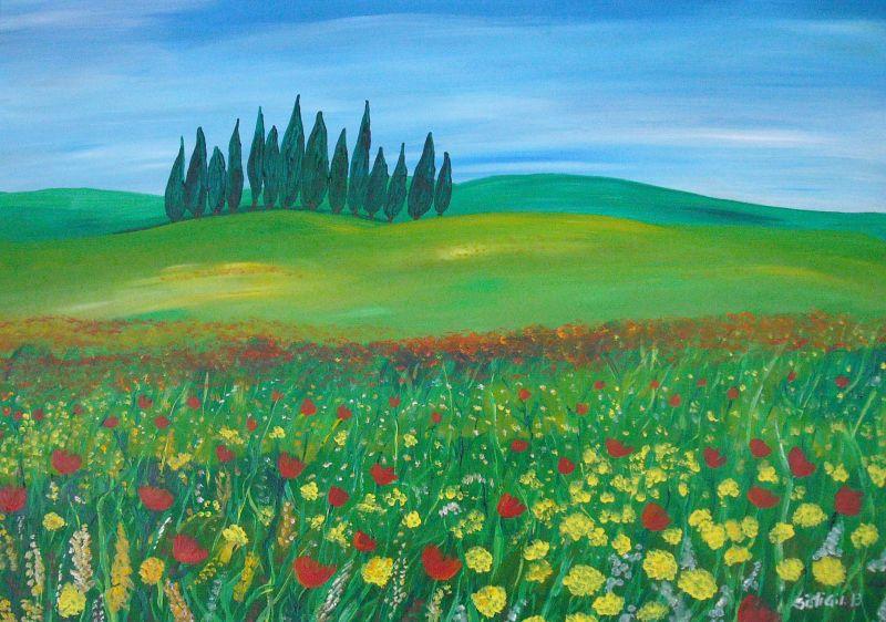 Paesaggio toscano in fiore - Opera d\'arte di Robert Nike