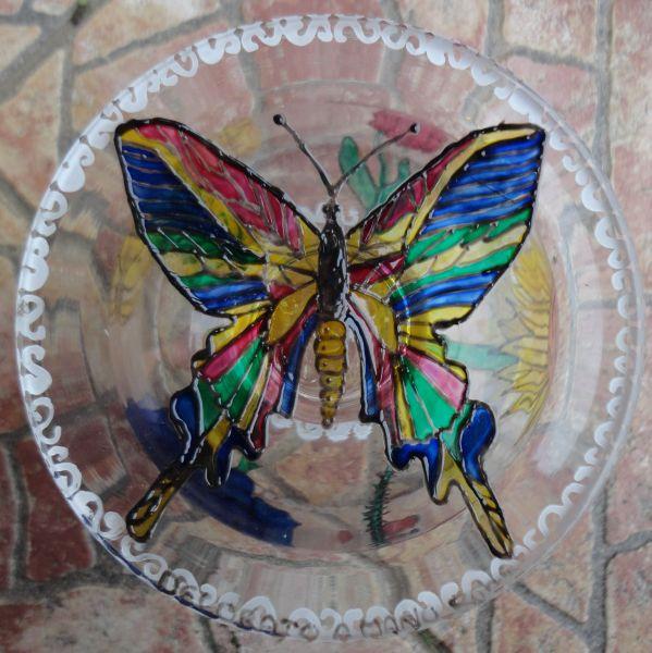 Portacaramelle in vetro con disegni   opera d'arte di roberta vitali