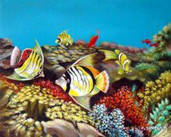 Pesci tropicali opera d 39 arte di roberto spreghini for Disegno paesaggio marino per bambini