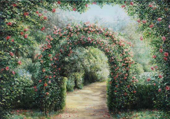 cerchio di fiori - opera d'arte di sara wilson - Giardino Fiorito Disegno