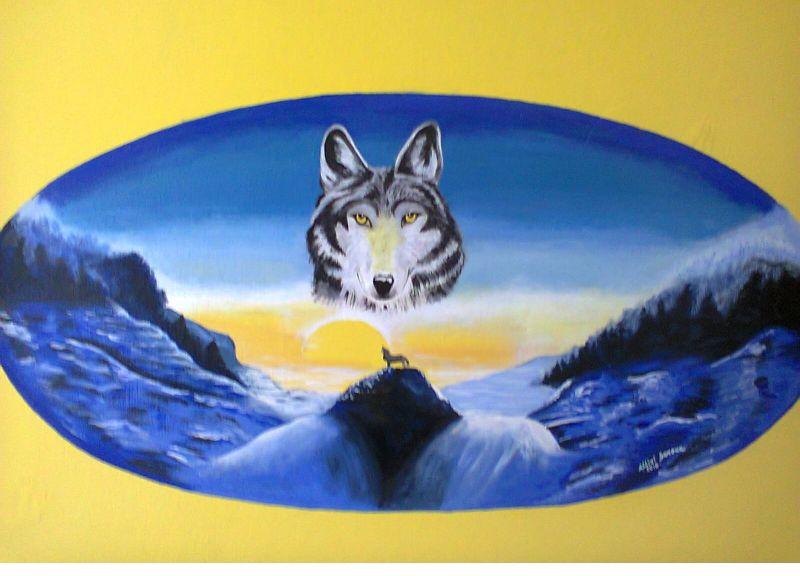 IL lupo ( dipinto su muro) - Opera darte di Sere