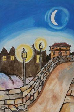 La strada verso la chiesa con il vecchio consorzio