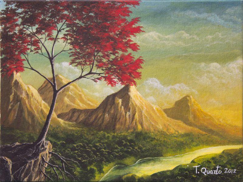 Paesaggio montano opera d 39 arte di teodoro quarto for Disegni colorati paesaggi