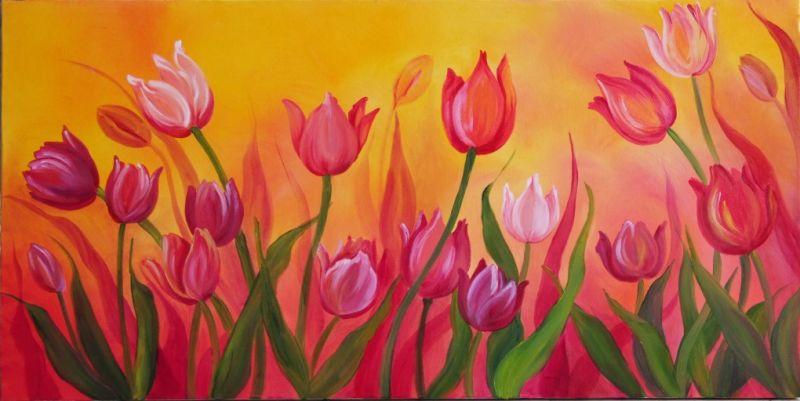 tulipani nel sole - Opera d\'arte di Teresita Caprino