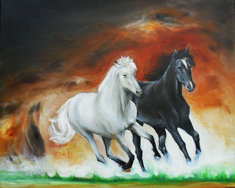 cavalli al galoppo - Opera d\'arte di Valeria Cinelli