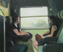 Mom and daughter traveling in a train
