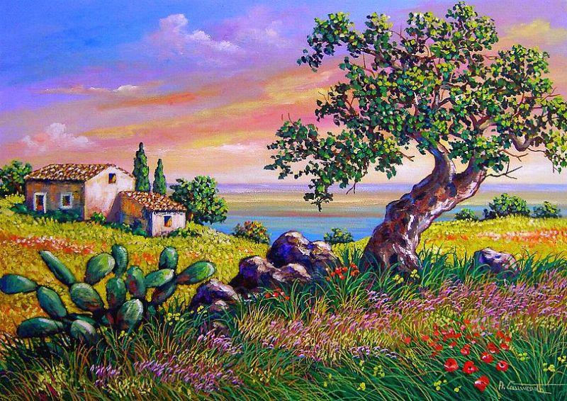 Disegni di natale paesaggi gia colorati