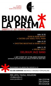 Buona la prima - art event - mostra e musica e asian food